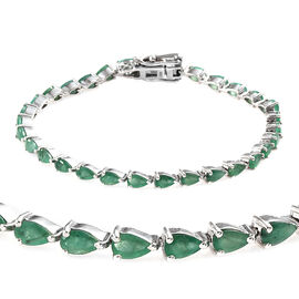 Kagem Zambian Emerald (Pear 5x3 mm) Bracelet (Size 7) in Platinum Overlay Sterling Silver 6.000 Ct,