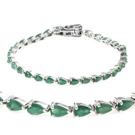 6 Carat Zambian Emerald Tennis Bracelet in Platinum Plated Sterling Silver 8.04 Grams