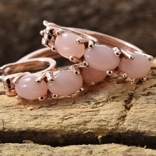 Peruvian Pink Opal (Ovl) Hoop Earrings (with Clasp Lock) in Rose Gold Overlay Sterling Silver 2.250 Ct.