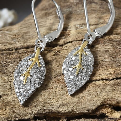 Designer Inspired- Designer Inspired- Diamond (Rnd) Lever Back Leaf Earrings in Platinum and Yellow Gold Overlay Sterling Silver 0.500 Ct,