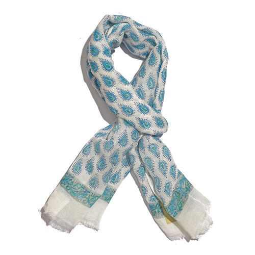 One Time Close Out Deal- Special Edition- Blue and White Colour Handblock Printed Scarf (Size 190x75 Cm) (60% Linen and 40% Modal)