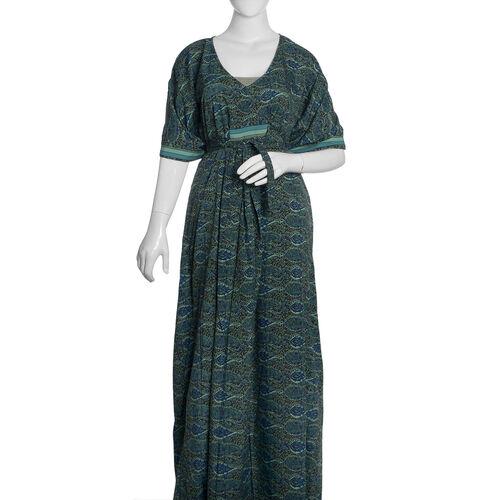 Green, Blue and Multi Colour Paisley Pattern Long Kaftan (Free Size)