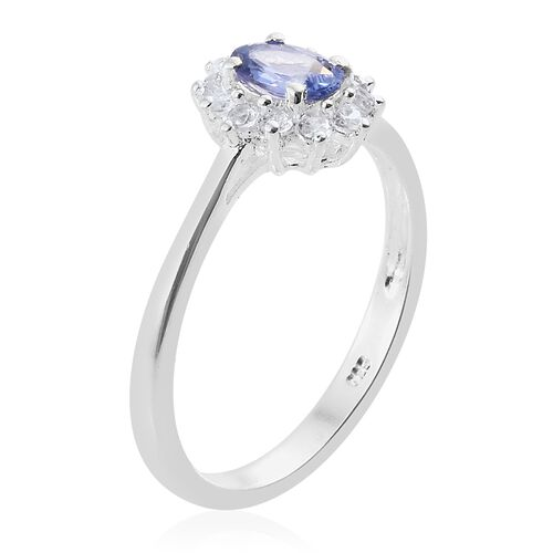 1 Carat Tanzanite and Natural Cambodian Zircon Halo Ring in Platinum Plated Silver