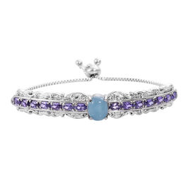 8 Carat Blue Jade and Simulated Amethyst Adjustable Bolo Bracelet in Silver Tone