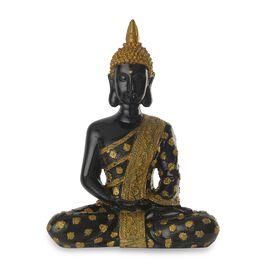Decorative Meditating Buddha Figurine (Size 25.40x15.24 Cm) - Black and Golden