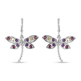 LucyQ Dragonfly Collection - Natural Hebei Peridot, Rhodolite Garnet & Amethyst Earrings (with Lever
