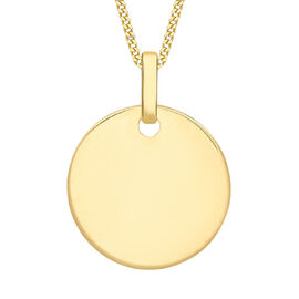 Personalised 9k Gold Disc Pendant