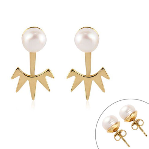 Sundays Child - Freshwater Pearl Fancy Drop Detachable Earrings (with Push Back) in 14K Gold Overlay