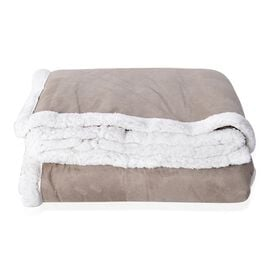 Sherpa Grey Faux Suede Patchwork Blanket (Size 200x150 Cm)