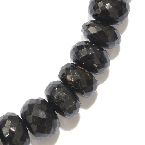 Very Rare Black Tourmaline (Rnd) Beads Necklace (Size 20) with Magnetic Clasp in Platinum Overlay Sterling Silver 300.000 Ct.