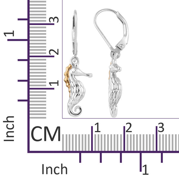 Platinum and Yellow Gold Overlay Sterling Silver Seahorse Earrings