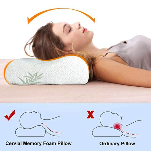 Orthopaedic Moulded Memory Foam Pillow with 6 Shungite Plates and Removable Bamboo Cover (Size 50x30x11-6cm)
