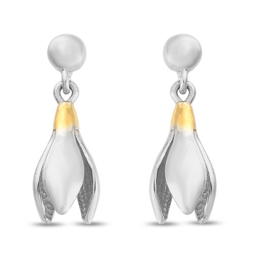 Drop Earrings in Platinum and Yellow Gold Plated Sterling Silver