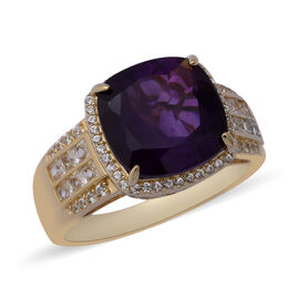 Amethyst and Zircon Halo Ring in Gold Plated Sterling Silver 6.10 Grams 7.36 Ct