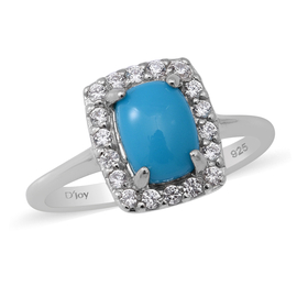 Arizona Sleeping Beauty Turquoise and Natural Cambodian Zircon Ring in Rhodium Overlay Sterling Silv