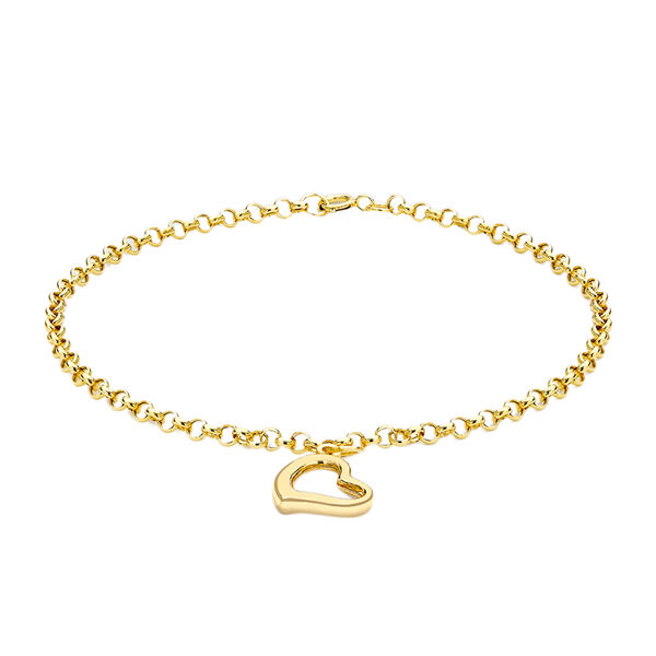 Chain Bracelet with Heart Charm Bracelet in 9K Yellow Gold 7 Inch