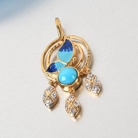 Arizona Sleeping Beauty Turquoise and Natural Cambodian Zircon Enamelled Pendant in 14K Gold Overlay Sterling Silver 1.090 Ct.