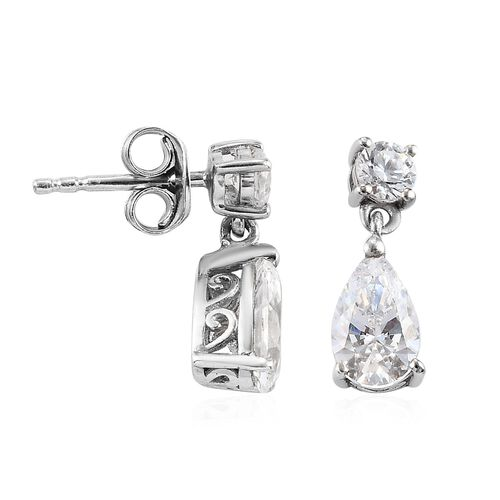 J Francis Platinum Overlay Sterling Silver Dangling Earrings (with Push Back) Made with DWAROVSKI ZIRCONIA 3.34 Ct.