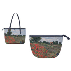 Signare Tapestry - Art Tote Bag in Monet Poppy Field Design (33 x 27 x 15 cms) with Free Makeup Bag