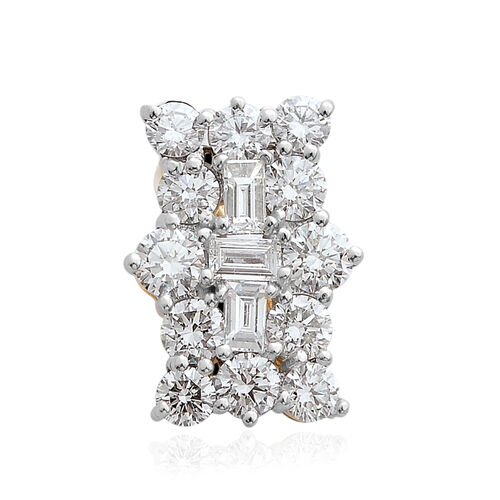 ILIANA 18K Yellow Gold IGI Certified Diamond (Rnd and Bgt) (SI/G-H) Boat Cluster Pendant 1.000 Ct.