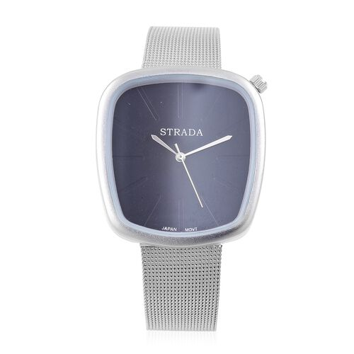 Designer Inspired - STRADA Japanese Movement Black Dial Watch in Silver Tone