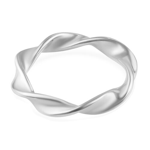 Platinum Overlay Sterling Silver Twisted Ring