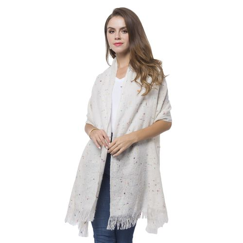 Italian Designer Inspired-White and Multi Colour Blanket Shawl with Fringes (Size 196X56 Cm)