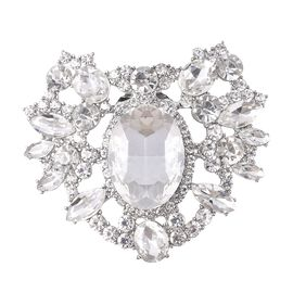 Simulated Diamond (Ovl and Mrq), White Austrian Crystal Accessory in Silver Tone