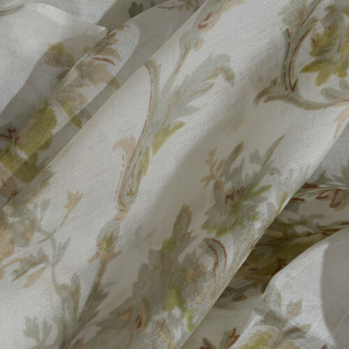 100% Mulberry Silk Green, Off White and Multi Colour Floral Hand Screen Printed Scarf (Size 180X100 Cm)