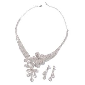 2 Piece Set White Crystal Floral Necklace and Earrings in Silver Tone 16 with 5 inch Extender