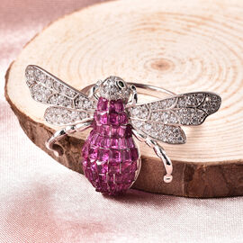 Lustro Stella - Simulated Ruby, Simulated Diamond and Simulated Emerald Bee Ring in Platinum Overlay Sterling Silver