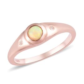 Ethiopian Opal, White Diamond 3 Stone Ring in Rose Gold Sterling Silver 0.05 ct  0.309  Ct.
