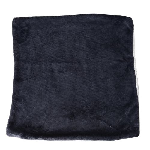 Set of 4 - Navy Colour Supersoft Reversible Flannel Sherpa Cushion Covers (45x45 cm)