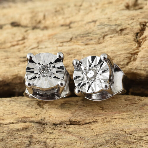 Diamond (Rnd) Stud Earrings (with Push Back) in Platinum Overlay Sterling Silver