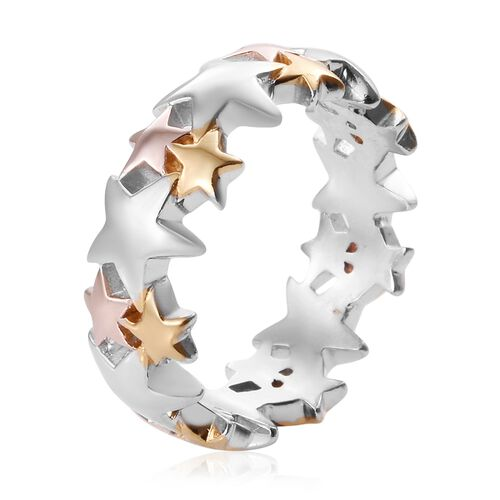 Platinum, Yellow and Rose Gold Overlay Sterling Silver Star Band Ring, Silver wt 3.97 Gms