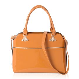 HONG KONG CLOSE OUT DEAL High Glossed  Crystal Bee Design Mustard Colour Tote Bag (Size 32x25x12 Cm)