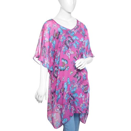 DOD- Designer Inspired- Fuchsia and Multi Colour Flower and Butterfly Pattern 100% Modal  Kaftan (Free Size)