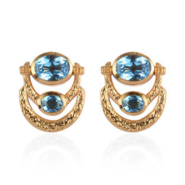 AA Electric Blue Topaz Earrings (with Push Back) in 14K Gold Overlay Sterling Silver 4.25 Ct, Silver