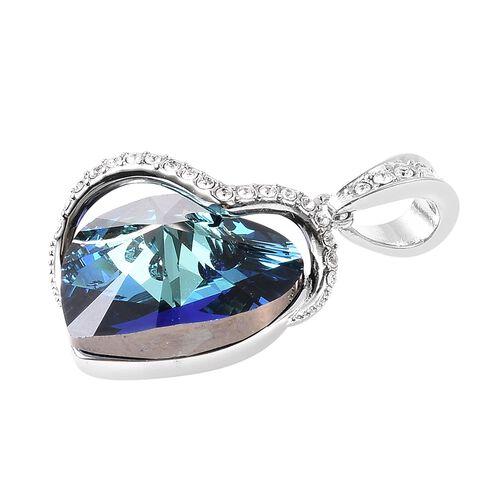 J Francis - Crystal from Swarovski Blue Crystal (Hrt), Swarovski White Crystal Pendant