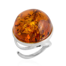 23 Carat Amber Cocktail Solitaire Ring in Sterling Silver 7 Grams