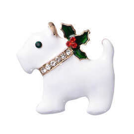 Christmas Multi Colour Austrian Crystal Puppy Enamelled Brooch in Yellow Gold Tone