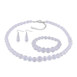 3 Piece Set - Simulated Mercury Mystic Topaz Beaded Necklace (Size 20 with 3 inch Extender), Stretch