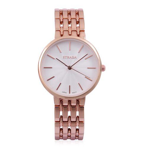 STRADA Urban Style White Finished Rose Gold Tone Metal Strap Watch