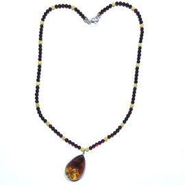 Signature Collection-Natural Bi-Colour Baltic Amber Necklace (Size 20) in Sterling Silver
