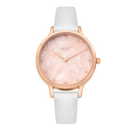 Oasis Ladies Watch with Round Pale Rose Pattern Dial and White Strap