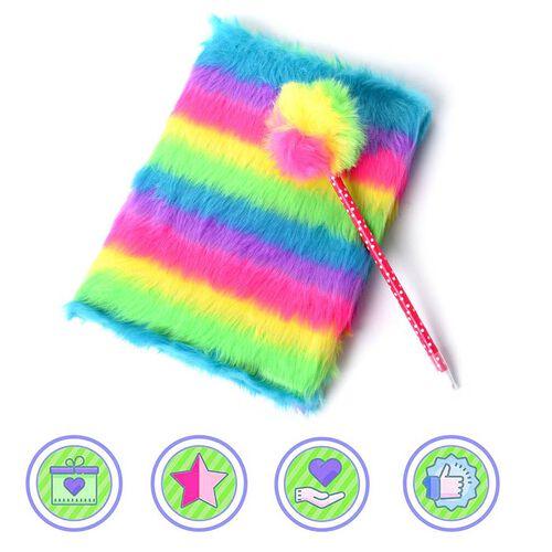 2 Piece Set - Fluffy Rainbow Cover Notebook with Rainbow Pom-Pom Blue Ink Pen
