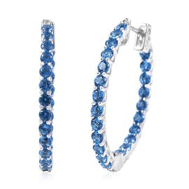 Lustro Stella Simulated Blue Sapphire Hoop Earrings in Rhodium Plated Silver