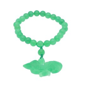 170 Ct Green Jade Beaded Bracelet with Bird Charm 6.5 Inch