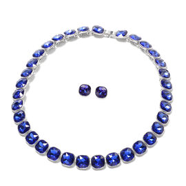 2 Piece Set - Simulated Blue Sapphire Necklace (Size 20) and Earrings (with Push Back) in Silver Ton