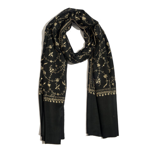 Limited Available - 100% Merino Wool Floral Hand Embroidered Black Colour Shawl (Size 200x70 Cm)
